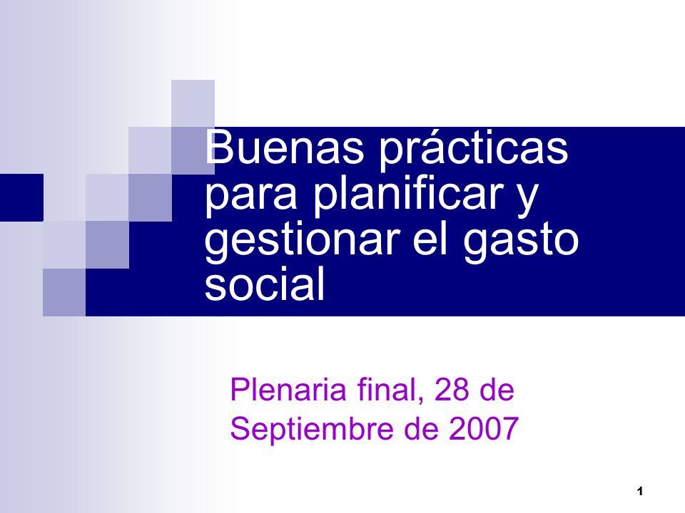 Buenas prácticas para planificar y gestionar el gasto social