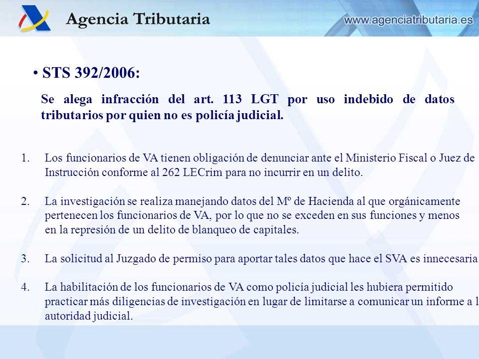 STS 392/2006: Se alega infracción del art. 113 LGT por uso indebido de datos tributarios por quien no es policía judicial.