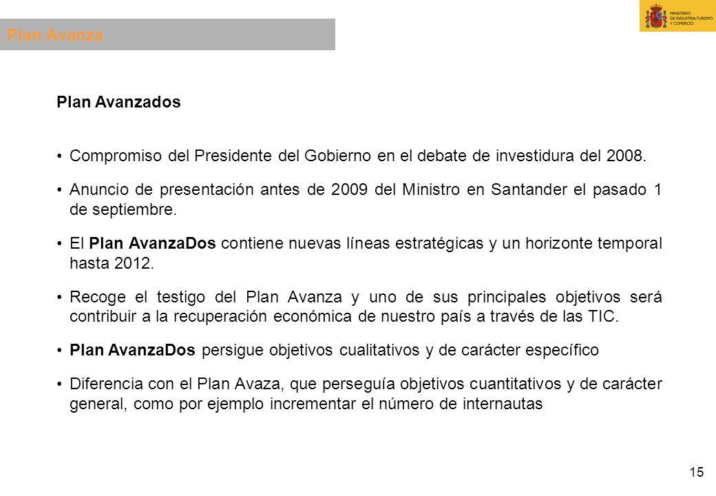 Plan Avanza Plan Avanzados. Compromiso del Presidente del Gobierno en el debate de investidura del 2008.