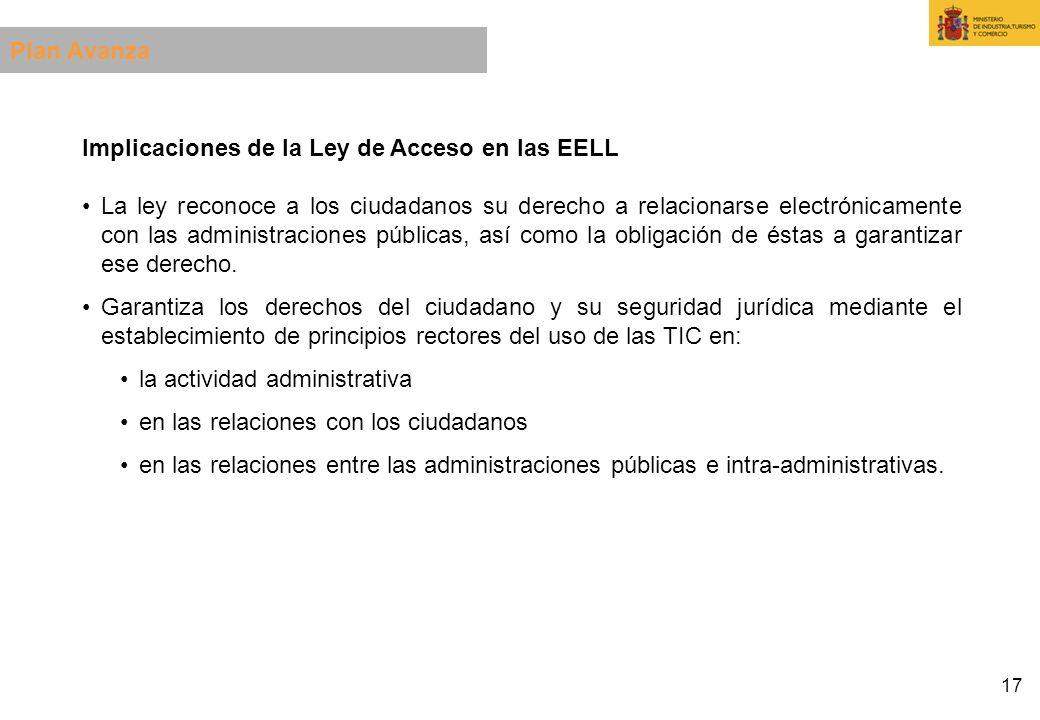 Plan Avanza Implicaciones de la Ley de Acceso en las EELL.