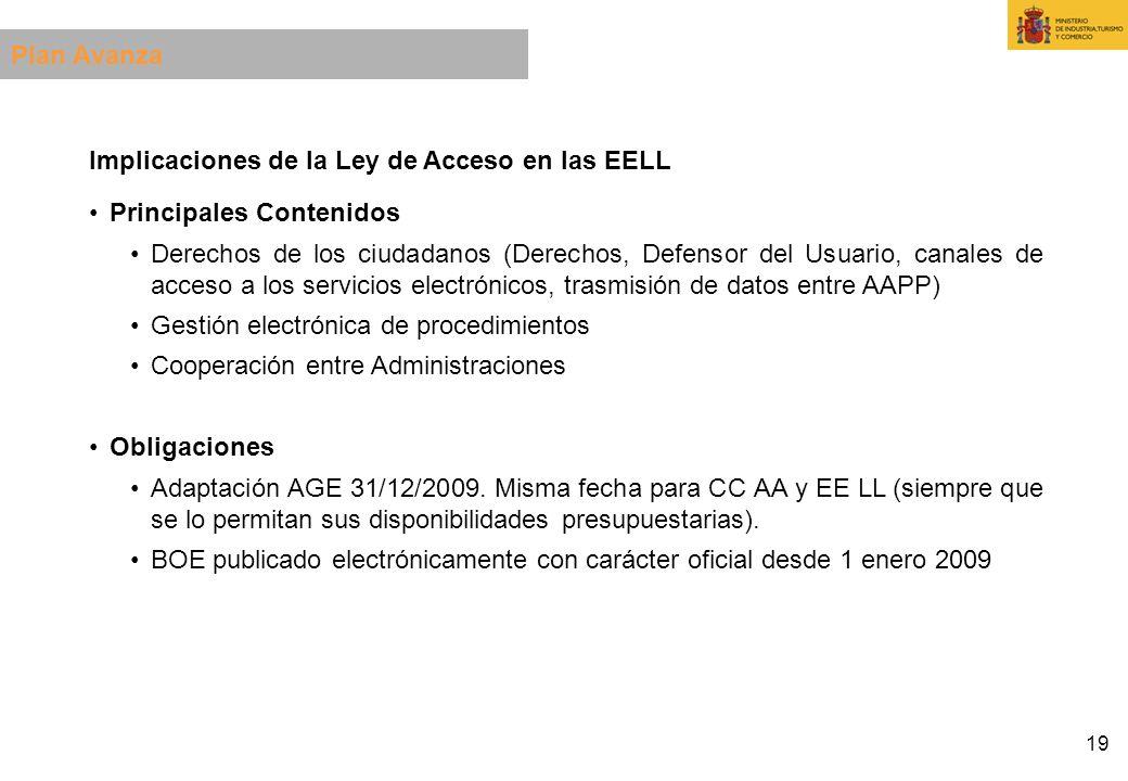 Plan Avanza Implicaciones de la Ley de Acceso en las EELL. Principales Contenidos.