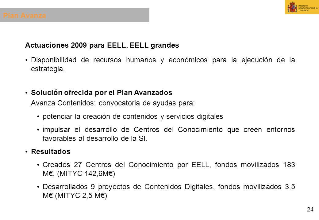 Plan Avanza Actuaciones 2009 para EELL. EELL grandes. Disponibilidad de recursos humanos y económicos para la ejecución de la estrategia.