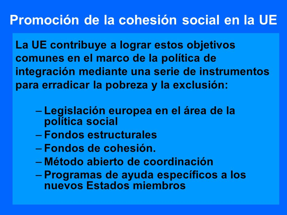 Promoción de la cohesión social en la UE
