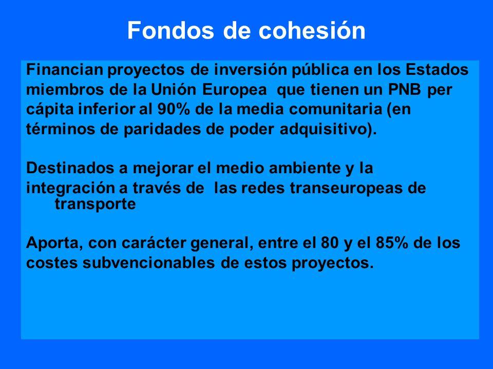 Fondos de cohesión Financian proyectos de inversión pública en los Estados. miembros de la Unión Europea que tienen un PNB per.