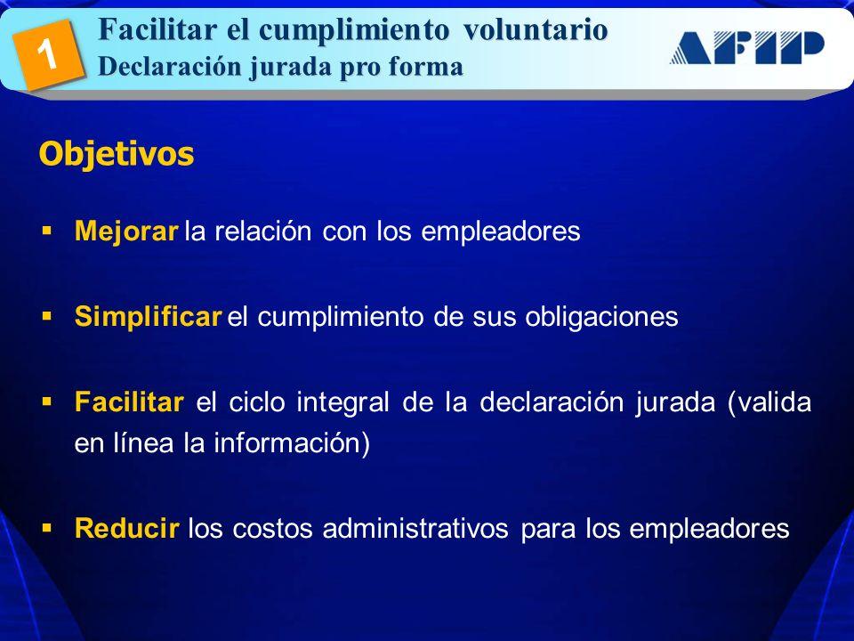 1 Facilitar el cumplimiento voluntario Objetivos