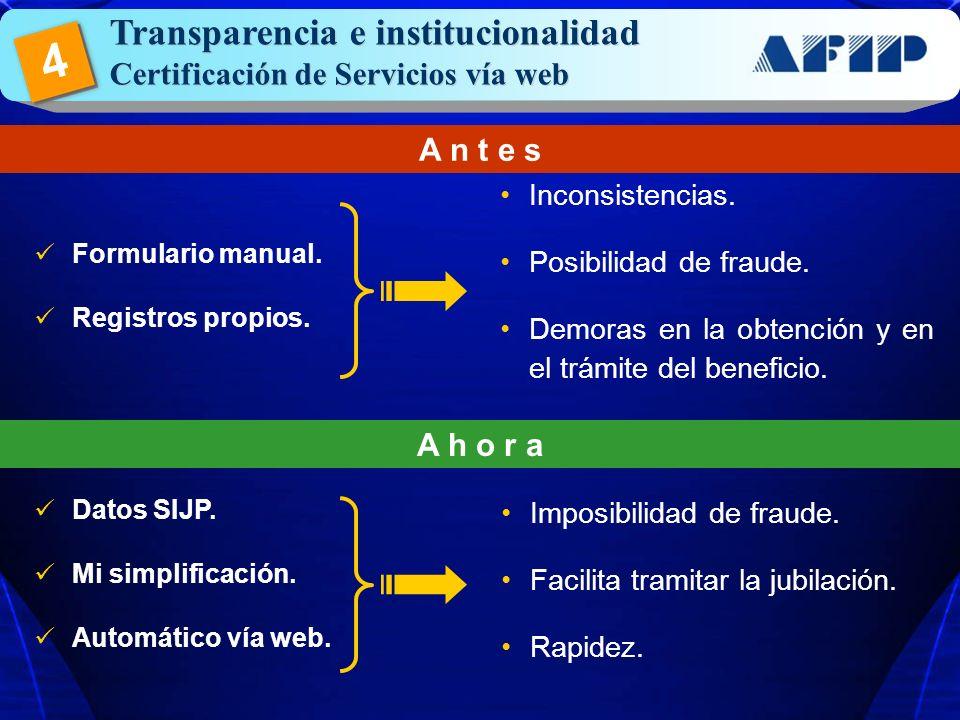 4 Transparencia e institucionalidad Certificación de Servicios vía web