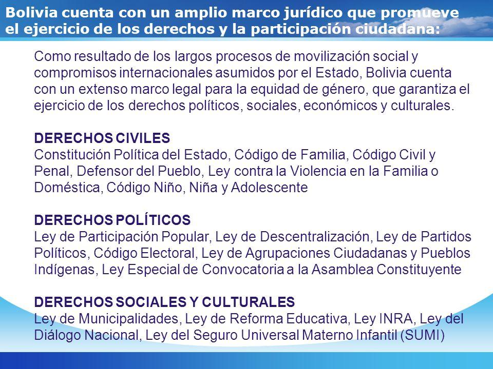 Bolivia cuenta con un amplio marco jurídico que promueve el ejercicio de los derechos y la participación ciudadana: