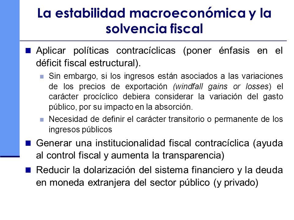 La estabilidad macroeconómica y la solvencia fiscal