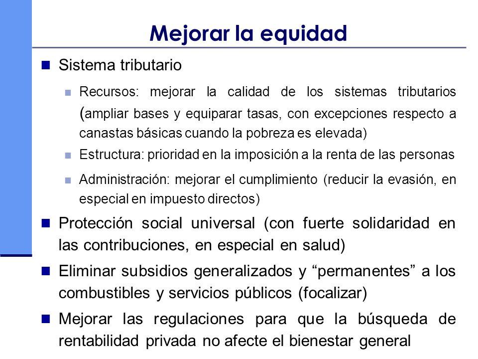 Mejorar la equidad Sistema tributario