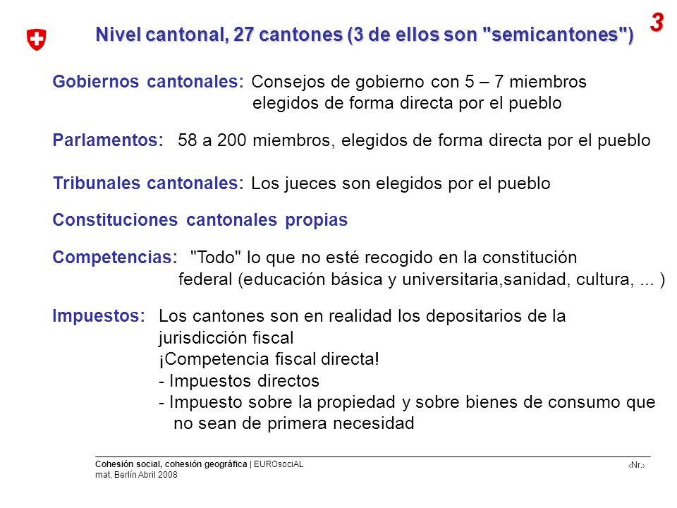 3 Nivel cantonal, 27 cantones (3 de ellos son semicantones )