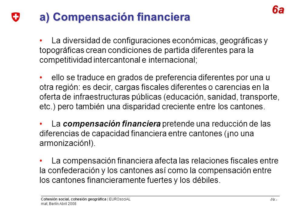a) Compensación financiera