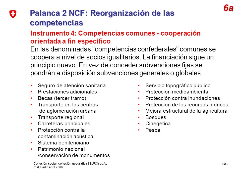 6a Palanca 2 NCF: Reorganización de las competencias