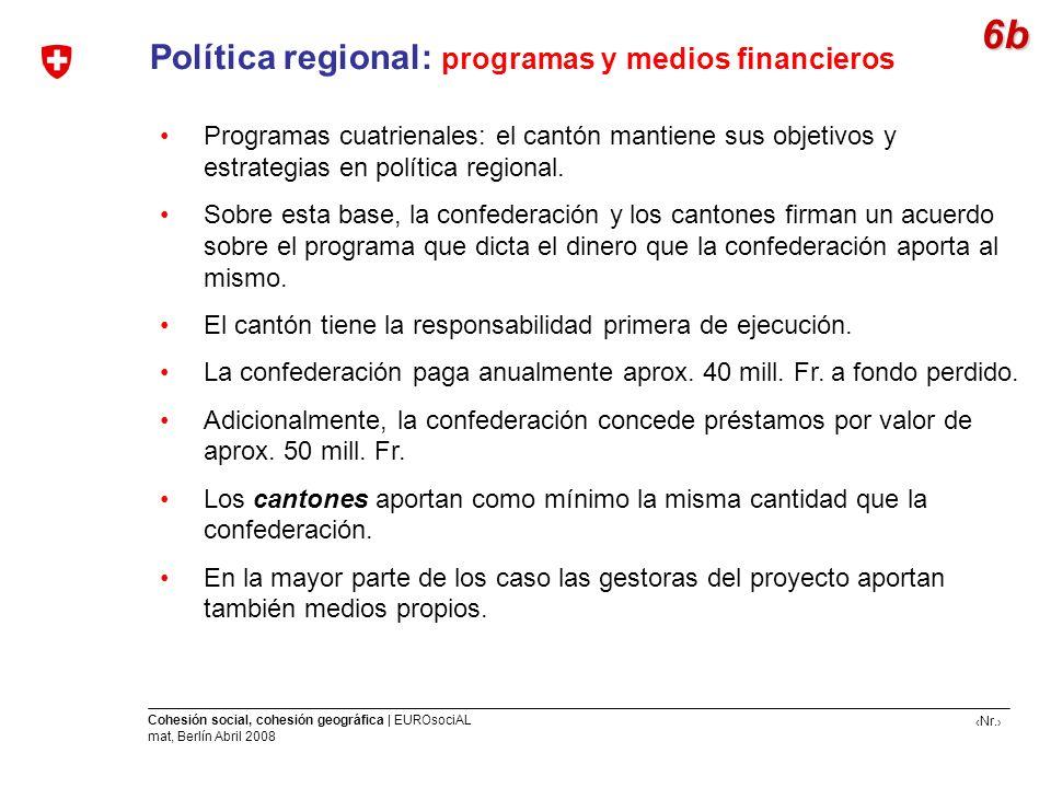 6b Política regional: programas y medios financieros