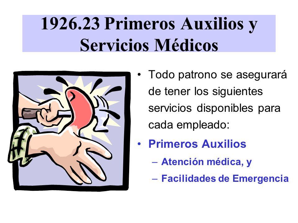 1926.23 Primeros Auxilios y Servicios Médicos