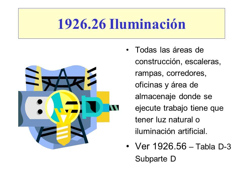 1926.26 Iluminación Ver 1926.56 – Tabla D-3 Subparte D
