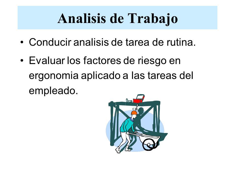 Analisis de Trabajo Conducir analisis de tarea de rutina.