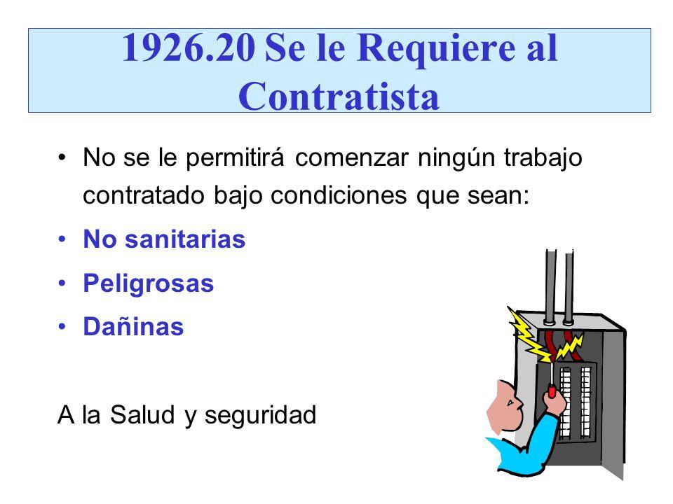 1926.20 Se le Requiere al Contratista