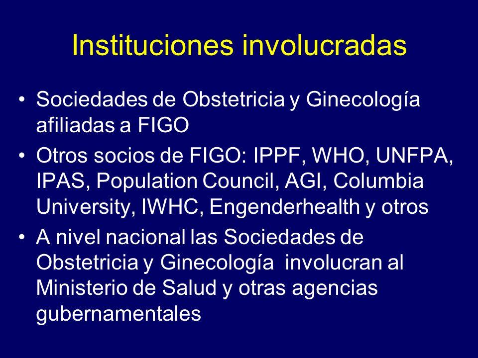 Instituciones involucradas