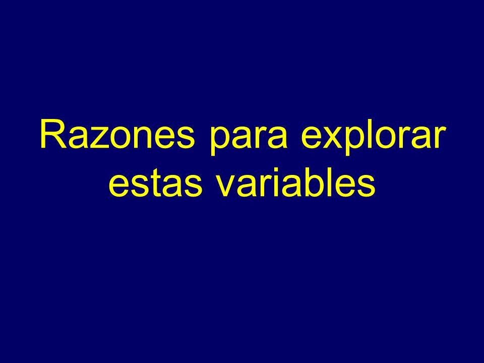 Razones para explorar estas variables