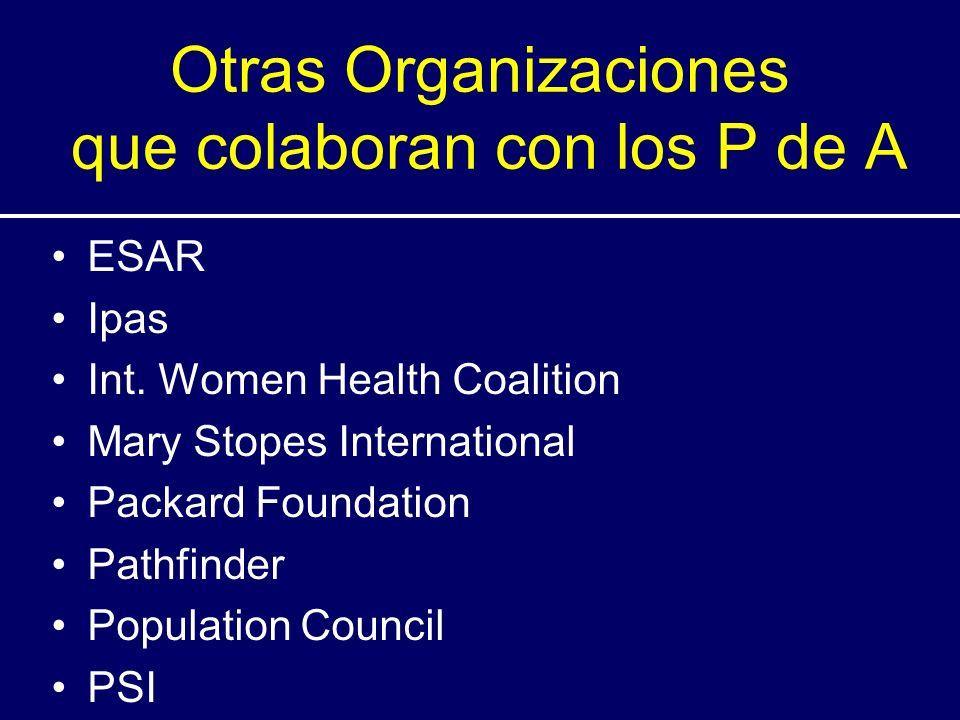 Otras Organizaciones que colaboran con los P de A