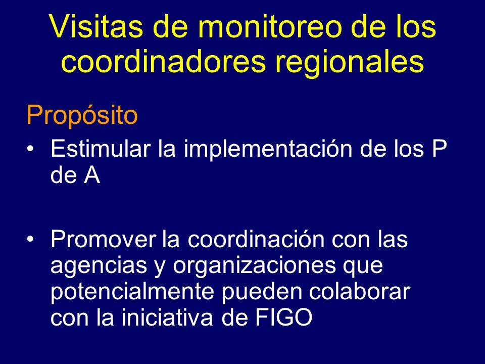 Visitas de monitoreo de los coordinadores regionales