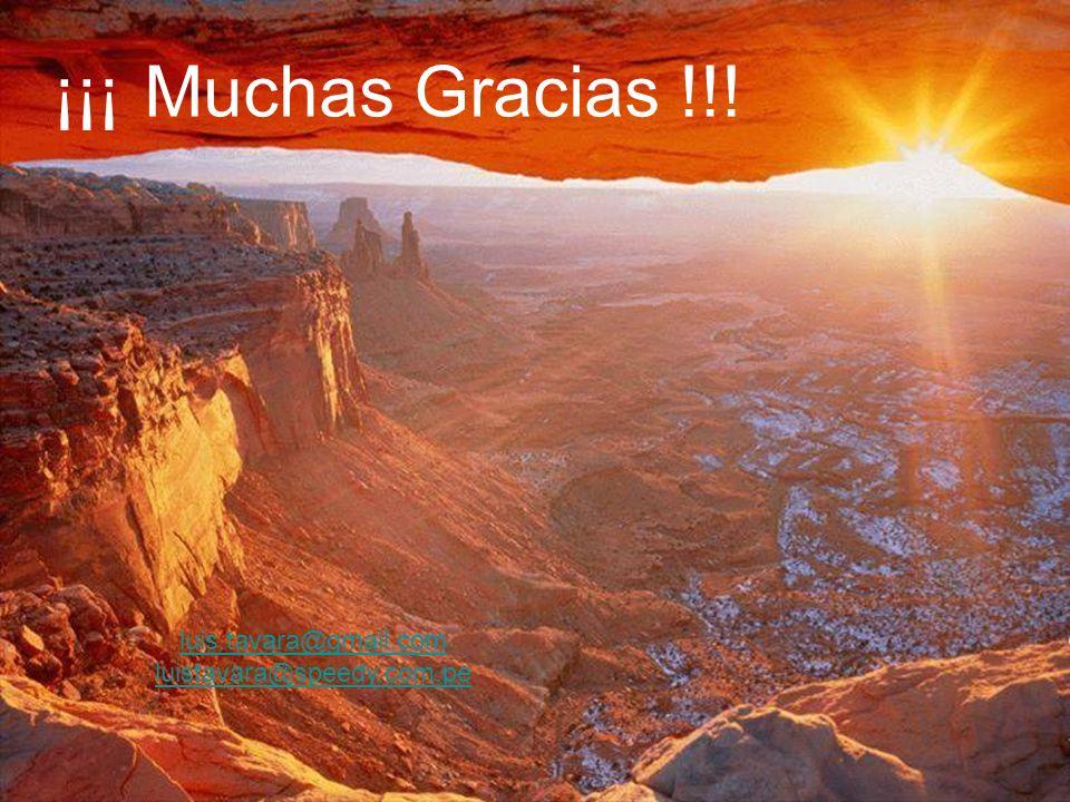 ¡¡¡ Muchas Gracias !!! luis.tavara@gmail.com luistavara@speedy.com.pe