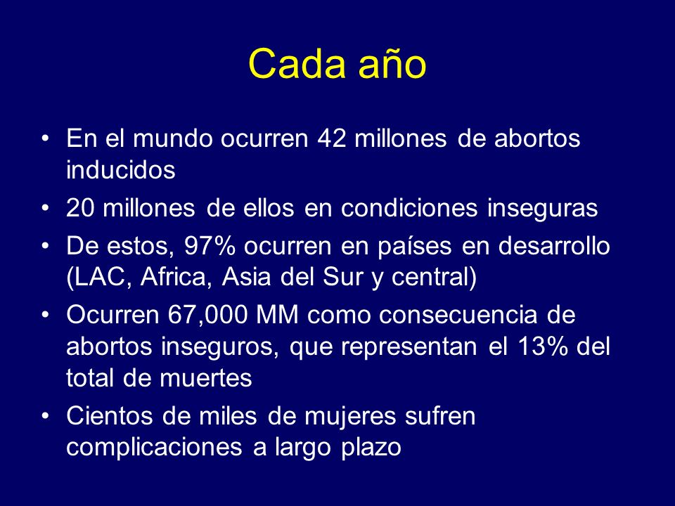 Cada año En el mundo ocurren 42 millones de abortos inducidos