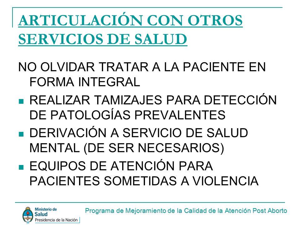 ARTICULACIÓN CON OTROS SERVICIOS DE SALUD