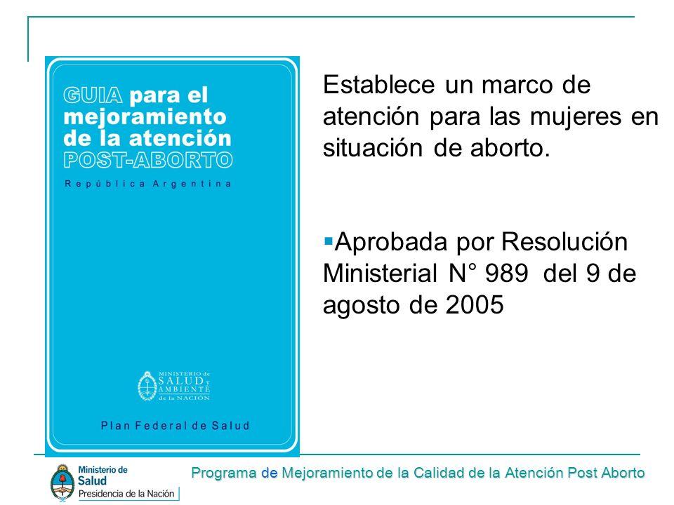 Aprobada por Resolución Ministerial N° 989 del 9 de agosto de 2005