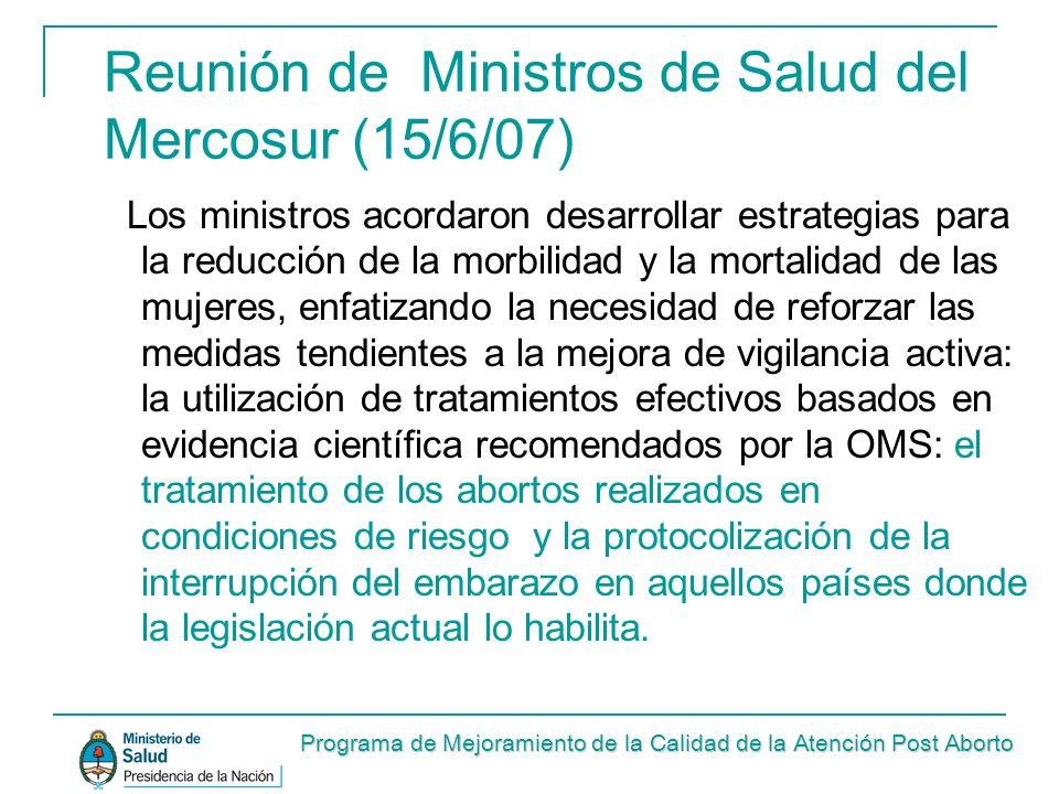 Reunión de Ministros de Salud del Mercosur (15/6/07)