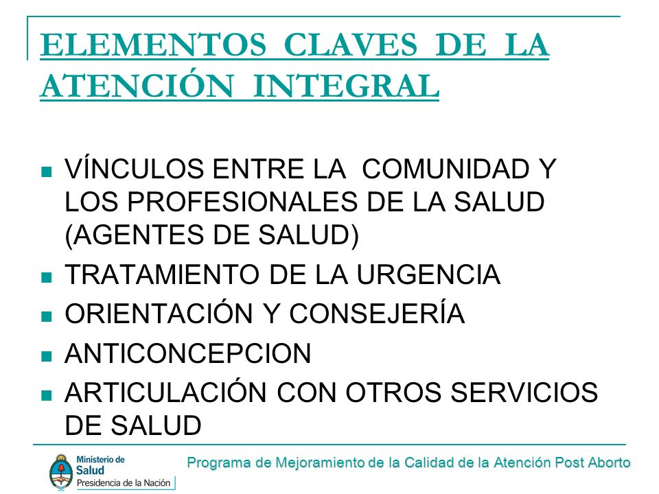 ELEMENTOS CLAVES DE LA ATENCIÓN INTEGRAL