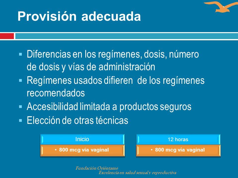 Provisión adecuadaDiferencias en los regímenes, dosis, número de dosis y vías de administración.