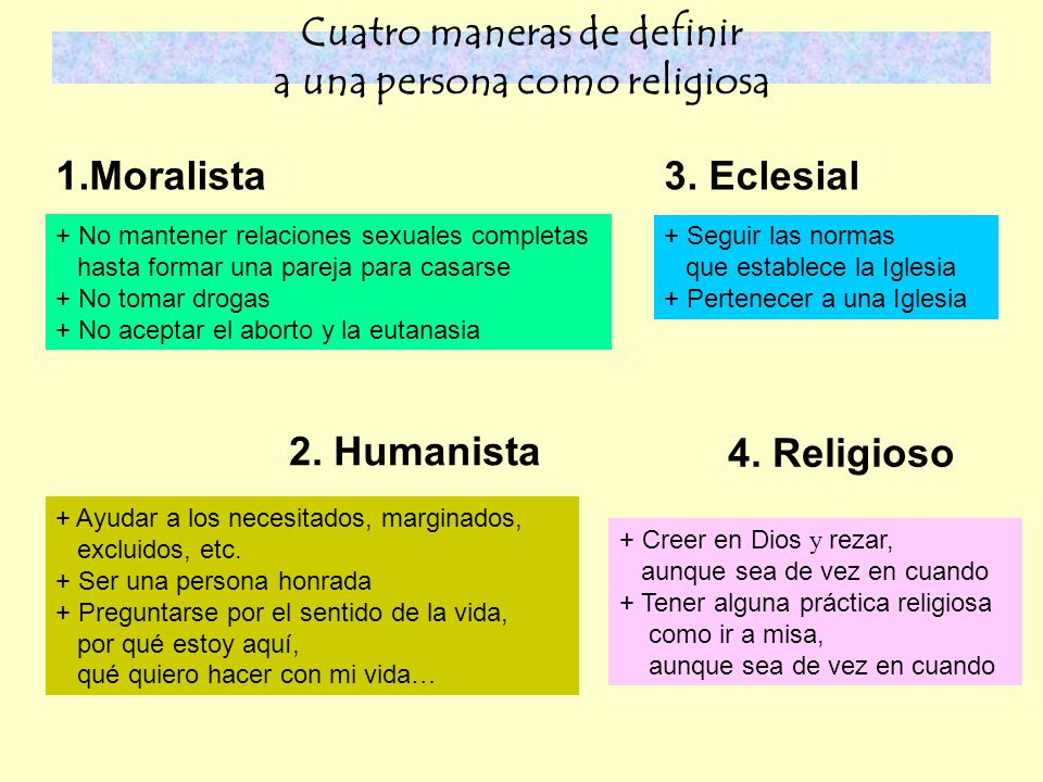 Cuatro maneras de definir a una persona como religiosa