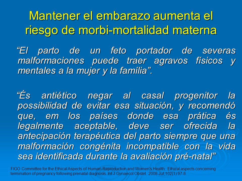 Mantener el embarazo aumenta el riesgo de morbi-mortalidad materna