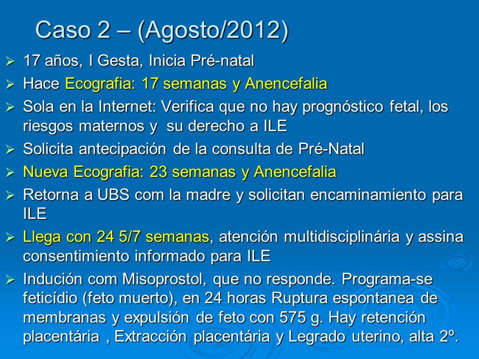 Caso 2 – (Agosto/2012) 17 años, I Gesta, Inicia Pré-natal