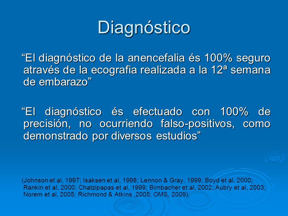 Diagnóstico El diagnóstico de la anencefalia és 100% seguro através de la ecografia realizada a la 12ª semana de embarazo