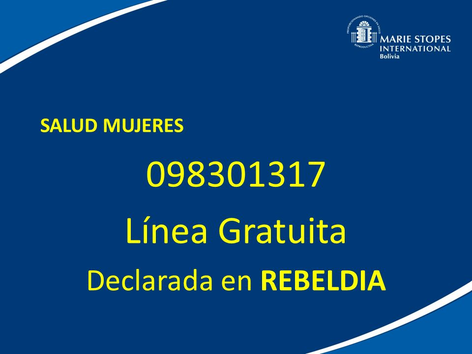 098301317 Línea Gratuita Declarada en REBELDIA