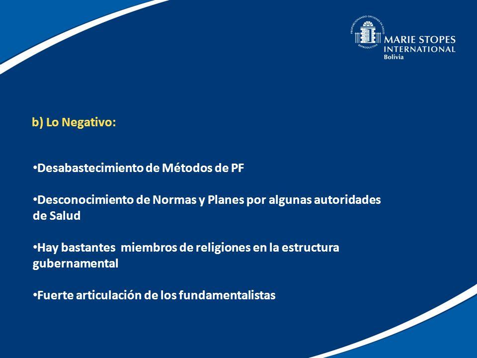 b) Lo Negativo:Desabastecimiento de Métodos de PF. Desconocimiento de Normas y Planes por algunas autoridades de Salud.