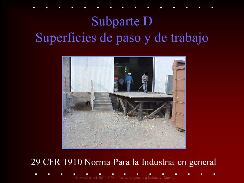 Subparte D Superficies de paso y de trabajo