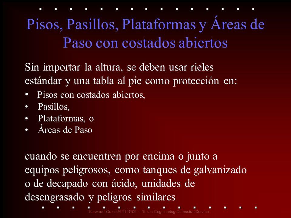 Pisos, Pasillos, Plataformas y Áreas de Paso con costados abiertos