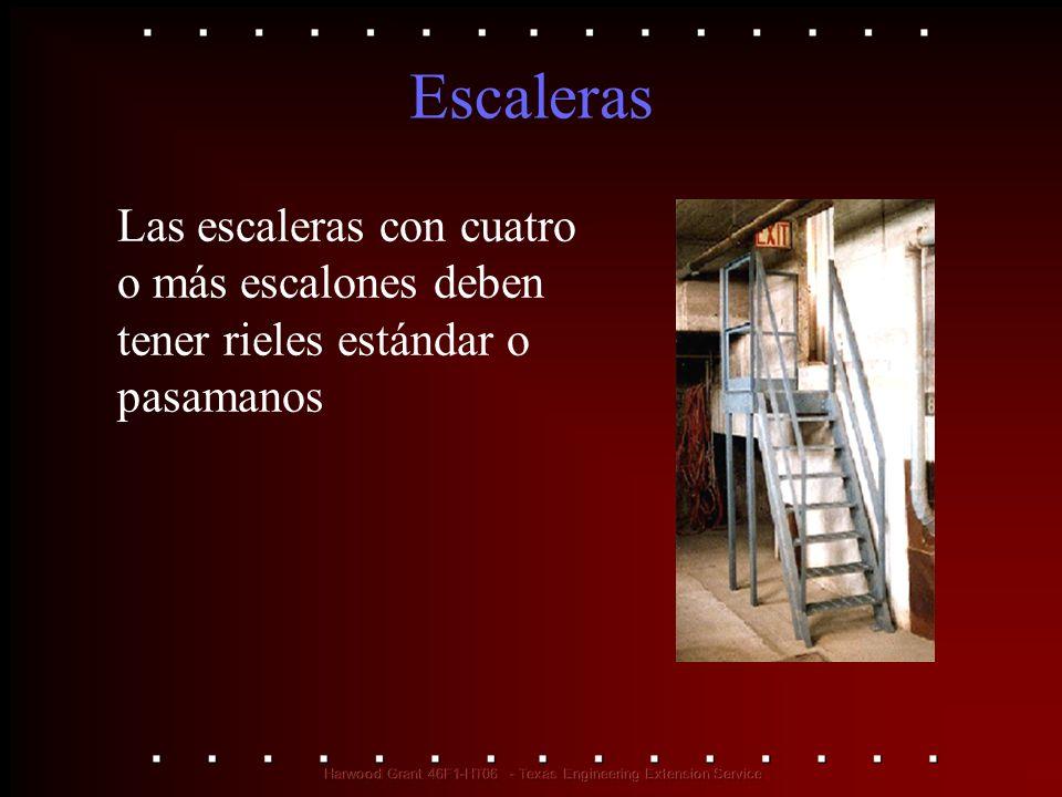 Escaleras Las escaleras con cuatro o más escalones deben tener rieles estándar o pasamanos. 1910.23(d)(1)