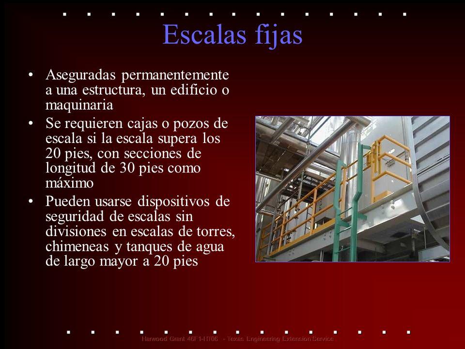 Escalas fijas Aseguradas permanentemente a una estructura, un edificio o maquinaria.