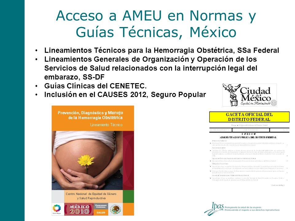 Acceso a AMEU en Normas y Guías Técnicas, México