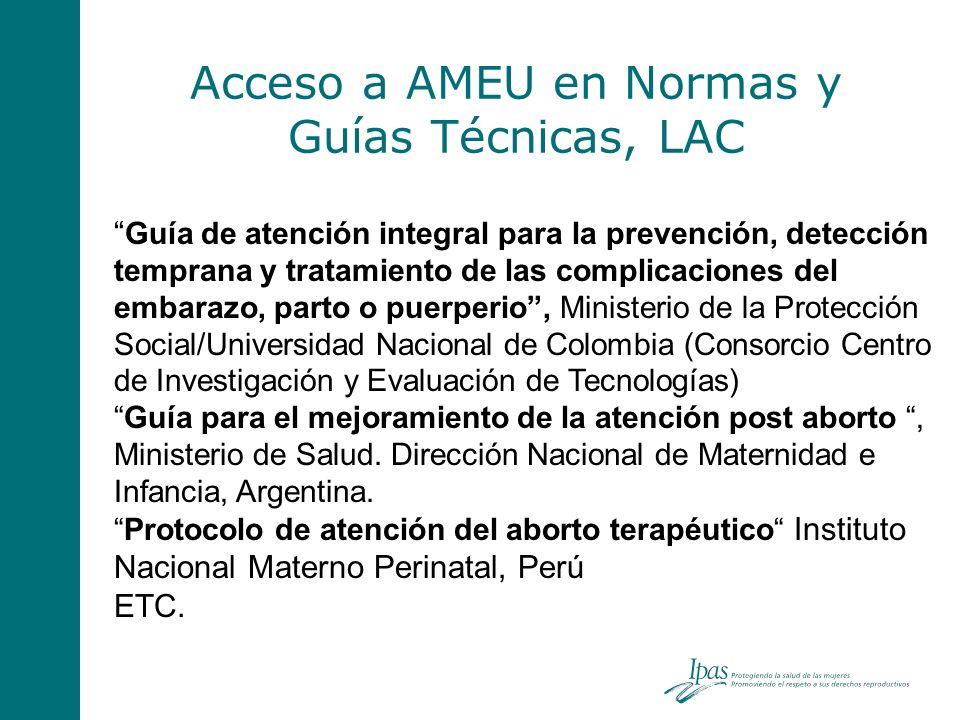 Acceso a AMEU en Normas y Guías Técnicas, LAC