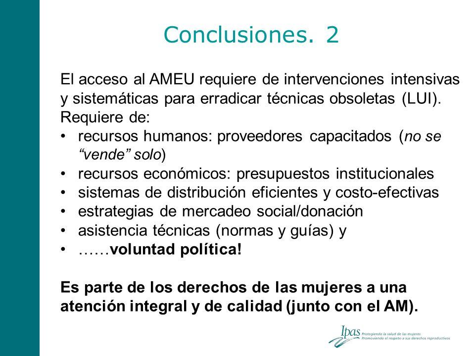 Conclusiones. 2 El acceso al AMEU requiere de intervenciones intensivas y sistemáticas para erradicar técnicas obsoletas (LUI).
