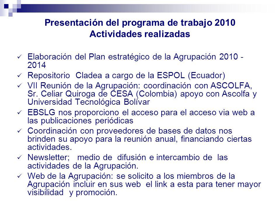 Presentación del programa de trabajo 2010 Actividades realizadas