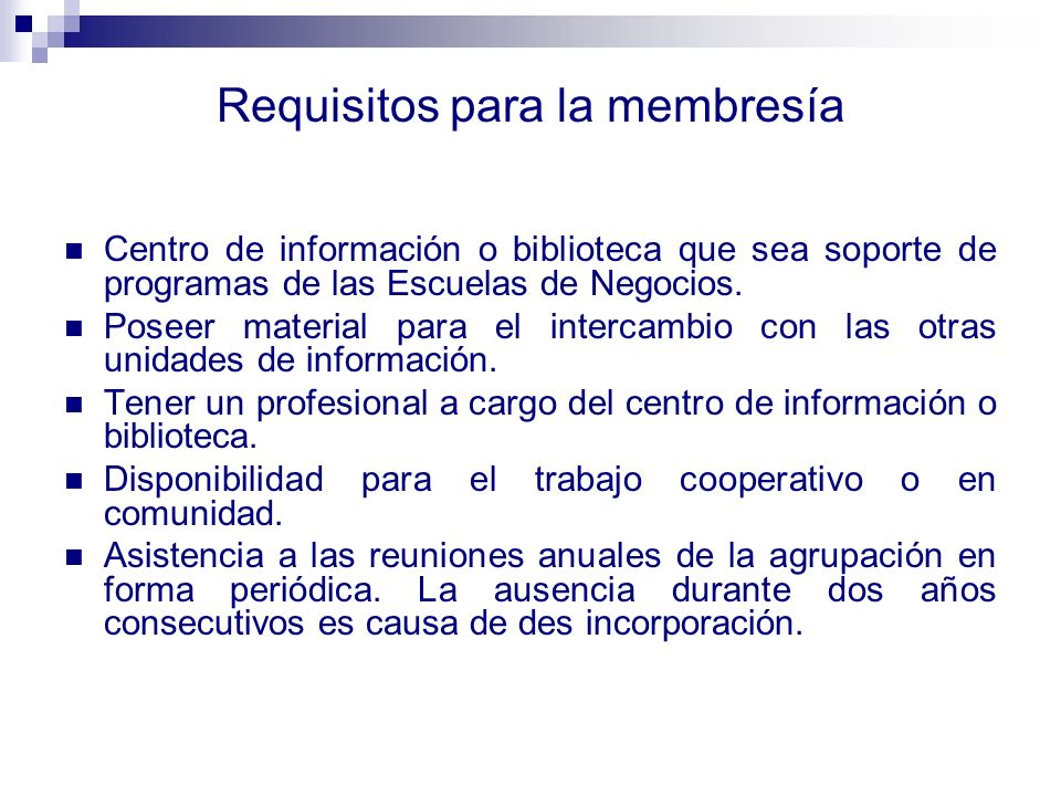 Requisitos para la membresía