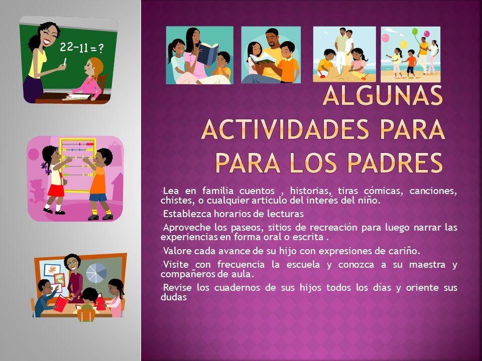 Algunas actividades para para los padres