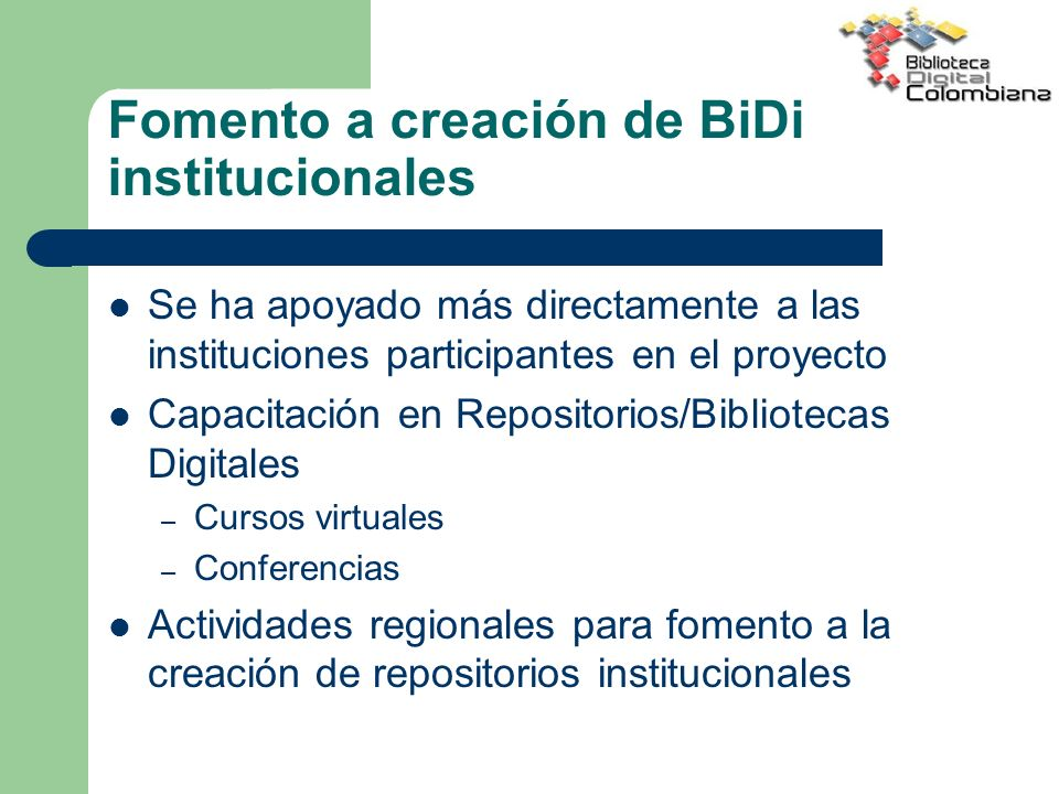 Fomento a creación de BiDi institucionales