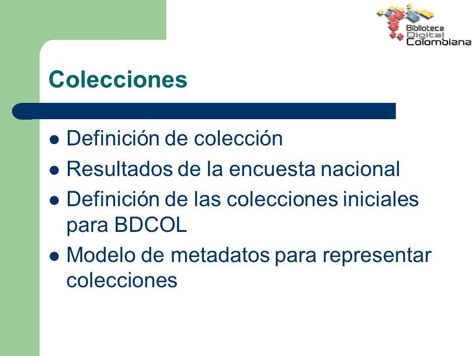 Colecciones Definición de colección Resultados de la encuesta nacional